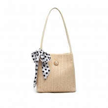 LH2010 - Miss Lulu Woven Straw Design Shoulder Bag with Polka Dot Scarf - Beige