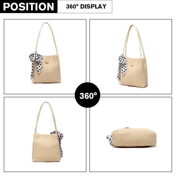 LH2010 - Miss Lulu Woven Straw Design Shoulder Bag with Polka Dot Scarf - Beige