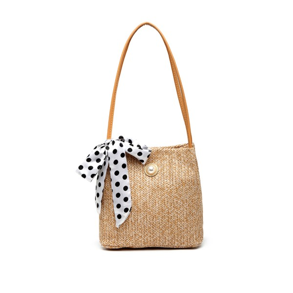 LH2010 - Miss Lulu Woven Straw Design Shoulder Bag with Polka Dot Scarf - Khaki