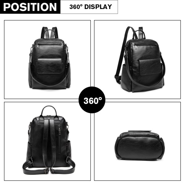 LH2012 - Miss Lulu Large Leather Look Backpack - Black