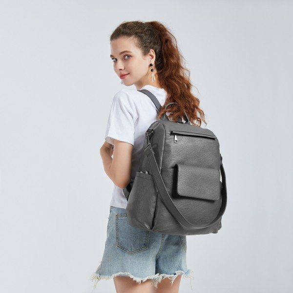 LH2012 - Miss Lulu Large Leather Look Backpack - Grey