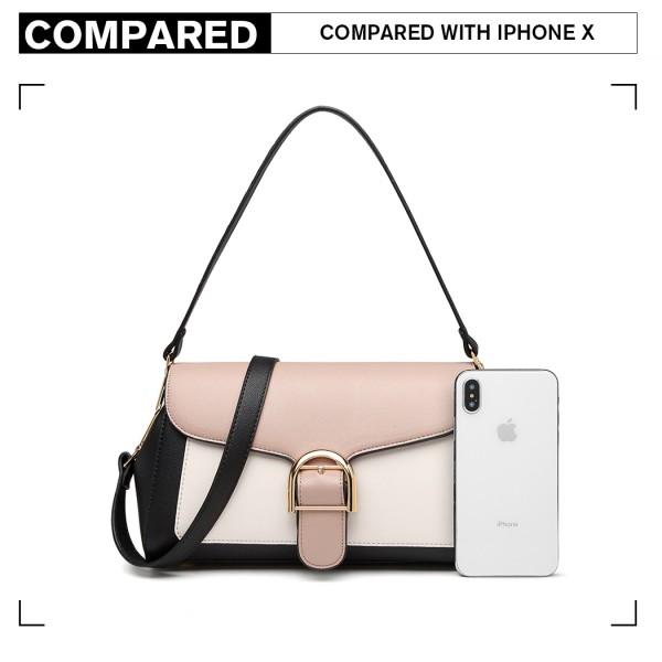 LH2018 - Miss Lulu Tri Colour Shoulder Handbag - Black And Khaki