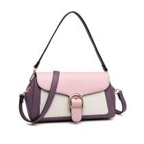 LH2018 - Miss Lulu Tri color Bolso de hombro - púrpura y rosa
