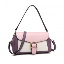 LH2018 - Miss Lulu Tri Colour Shoulder Handbag - Purple And Pink