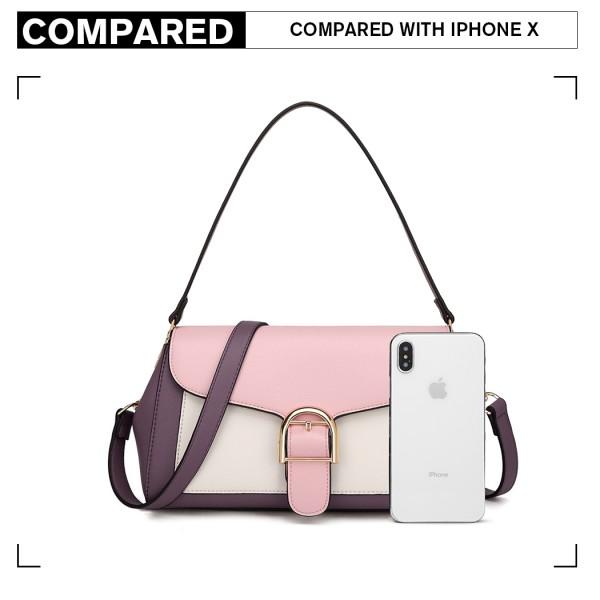 LH2018 - Miss Lulu Tri Colour Shoulder Handbag - Purple And Pink
