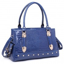 LH6642 - Miss Lulu Patent Crocodile Effect Shoulder Bag Blue