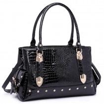 LH6642 - Miss Lulu Patent Crocodile Effect Shoulder Bag Black