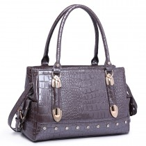 LH6642 - Miss Lulu Patent Crocodile Effect Shoulder Bag Grey