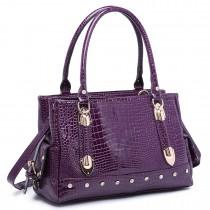 LH6642 - Miss Lulu Patent Crocodile Effect Shoulder Bag Purple