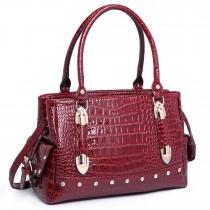 LH6642 - Miss Lulu Patent Crocodile Effect Shoulder Bag Red