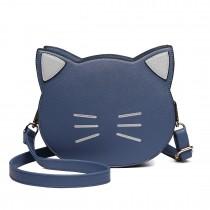 LH6702 BE - Miss Lulu PU Leather Cute Kitty Crossbody Bag Blue