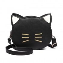 LH6702 BK - Miss Lulu PU Leather Cute Kitty Crossbody Bag Black