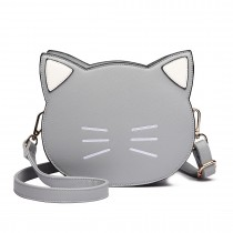 LH6702 GY - Miss Lulu PU Leather Cute Kitty Crossbody Bag Grey