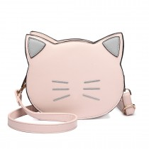 LH6702 PK - Miss Lulu PU Leather Cute Kitty Crossbody Bag Pink