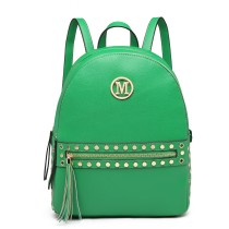 LH6807-MISS LULU STYLISH PU LEATHER STUD DECORATIONS BACKPACK GREEN