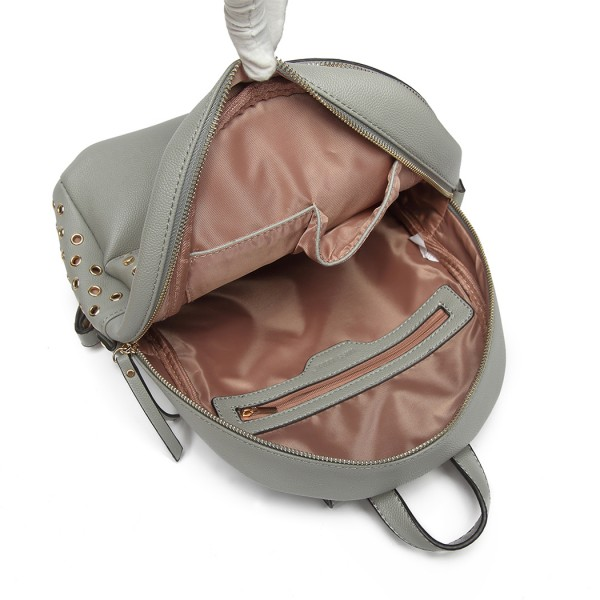 LH6807-MISS LULU STYLISH PU LEATHER STUD DECORATIONS BACKPACK GREY