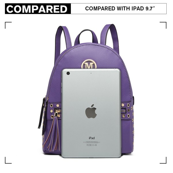 LH6807-MISS LULU STYLISH PU LEATHER STUD DECORATIONS BACKPACK PURPLE