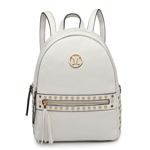 LH6807-MISS LULU STYLISH PU LEATHER STUD DECORATIONS BACKPACK WHITE