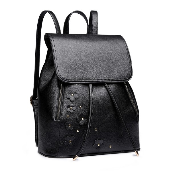LH6808-MISS LULU PU LEATHER DRAWSTRING BACKPACK BLACK