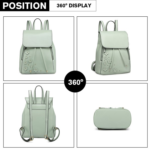 LH6808-MISS LULU PU LEATHER DRAWSTRING BACKPACK GREEN