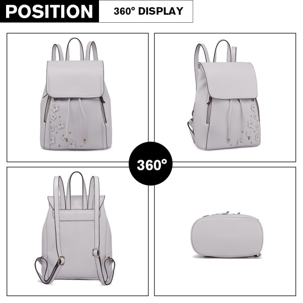 LH6808-MISS LULU PU LEATHER DRAWSTRING BACKPACK LIGHT GREY