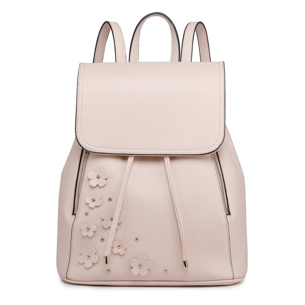 LH6808-MISS LULU PU LEATHER DRAWSTRING BACKPACK NUDE