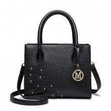 LH6809 - Miss Lulu Embellished Flower Leather Look Handbag - Black
