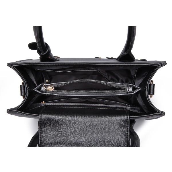 LH6809 - Miss Lulu Embellished Flower Leather Look Handbag - Black