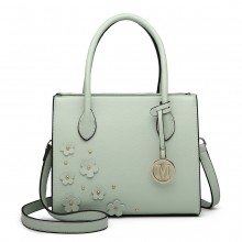 LH6809 - Miss Lulu Embellished Flower Leather Look Handbag - Green
