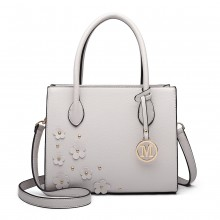 LH6809 - Miss Lulu Embellished Flower Leather Look Handbag - Light Grey