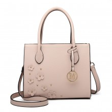 LH6809 - Miss Lulu Embellished Flower Leather Look Handbag - Nude