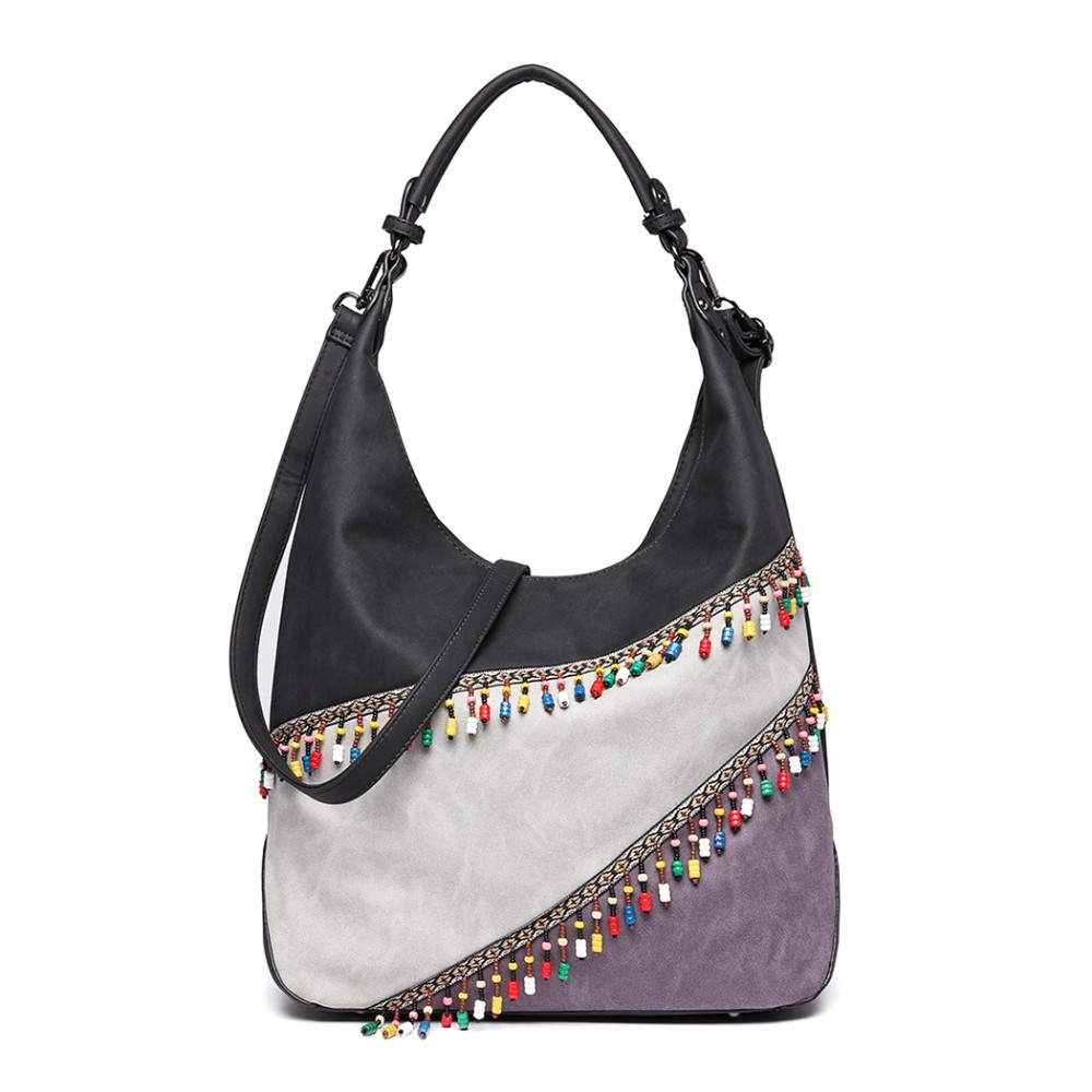 a34a725c93b3 LH6810-MISS LULU BEADED COLOUR BLOCK HOBO HANDBAG SHOULDER .