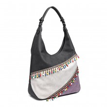 LH6810 - Miss Lulu Beaded Colour Block Hobo Shoulder Bag - Black