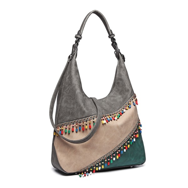 LH6810 - Miss Lulu Beaded Colour Block Hobo Shoulder Bag - Grey