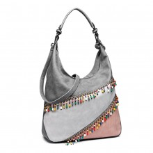 LH6810-MISS LULU BAD COLOR BLOCK HOBO SAC À MAIN SAC D'ÉPAULE GRIS CLAIR