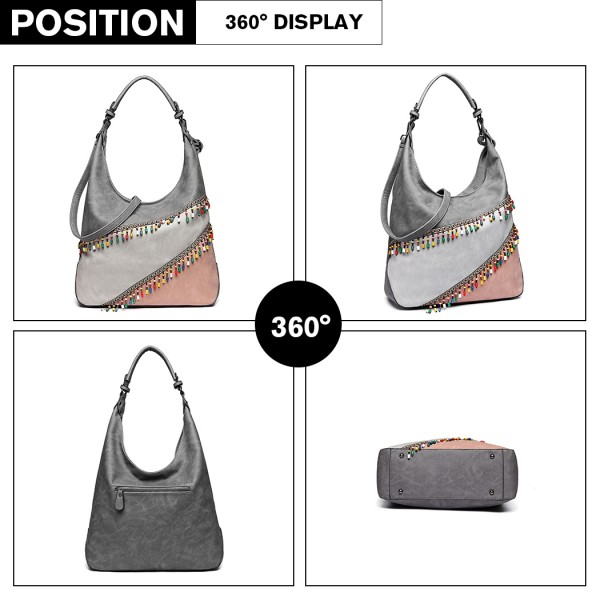 LH6810 - Miss Lulu Beaded Colour Block Hobo Shoulder Bag - Light Grey