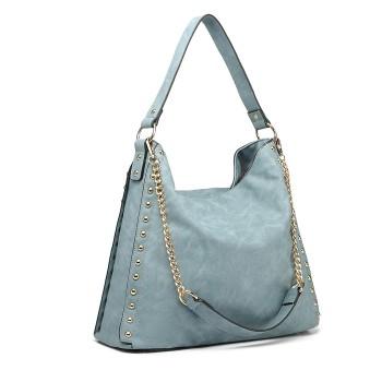 LH6811-MISS LULU STUDDED LARGE SLOUCHY HOBO HANDBAG SHOULDER BAG BLUE