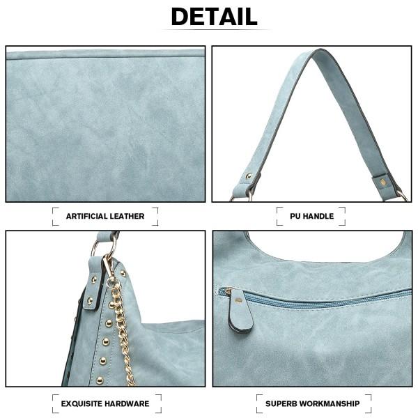 LH6811 - Miss Lulu Studded Large Slouchy Hobo Shoulder Bag - Blue