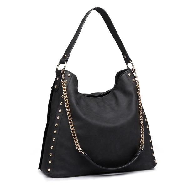 LH6811 - Miss Lulu Studded Large Slouchy Hobo Shoulder Bag - Black