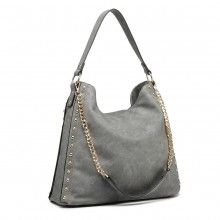 LH6811-MISS LULU GRAND SAC À MAIN SLOBCHY HOBO SAC À MAIN GRIS