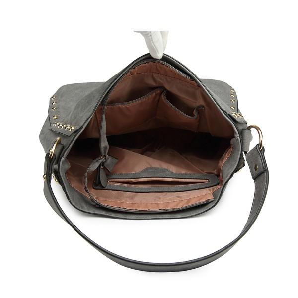 LH6811-MISS LULU STUDDED LARGE SLOUCHY HOBO HANDBAG SHOULDER BAG GREY