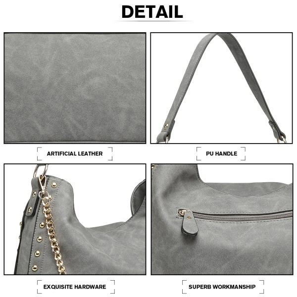 LH6811 - Miss Lulu Studded Large Slouchy Hobo Shoulder Bag - Grey