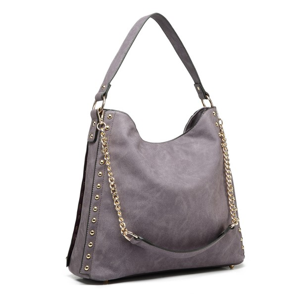 LH6811 - Miss Lulu Studded Large Slouchy Hobo Shoulder Bag - Purple