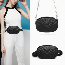 LH6834-MISS LULU HEART-SHAPE PATTERN WAIST BAG CHAIN SHOULDER BAG BLACK