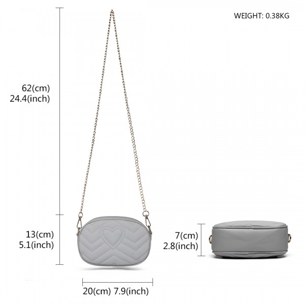 LH6834 - Miss Lulu Quilted Heart and Chevron Cross Body and Bum Bag - Grey