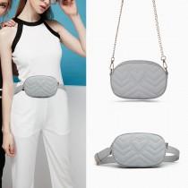 LH6834-MISS LULU HEART-SHAPE PATTERN WAIST BAG CHAIN SHOULDER BAG GREY