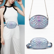 LH6834 - Miss Lulu Quilted Heart and Chevron Cross Body and Bum Bag - Iridescent Light Blue