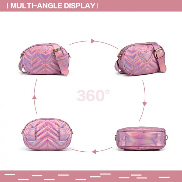 LH6834 - Miss Lulu Quilted Heart and Chevron Cross Body and Bum Bag - Iridescent Pink