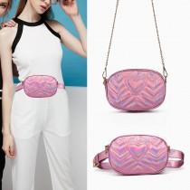 LH6834-MISS LULU HEART-SHAPE PATTERN WAIST BAG CHAIN SHOULDER BAG PINK