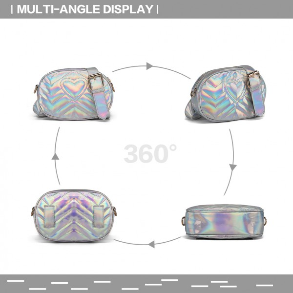 LH6834 - Miss Lulu Quilted Heart and Chevron Cross Body and Bum Bag - Iridescent Silver